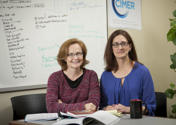 CIMER Director Christine Pfund (right) and Leah Nell Adams (left), develop mentoring partnerships across many STEMM disciplines.