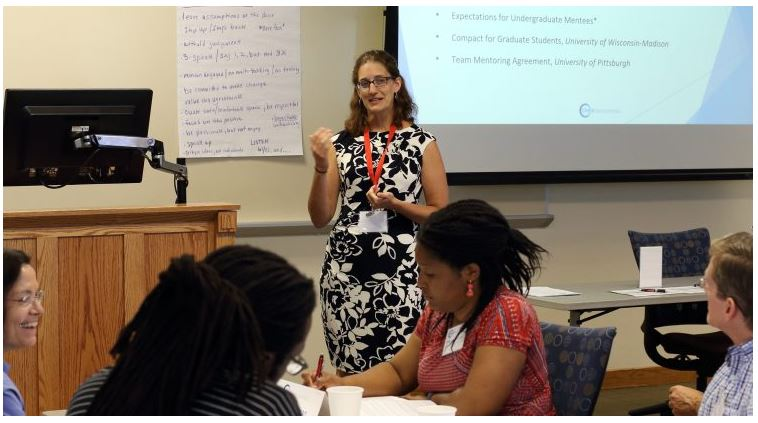CIMER Director Christine Pfund explains key principles in research-based mentoring to training conference participants in July.