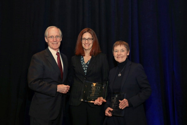 Pfund (middle) and Sorkness (right) honored by ACTS with  Distinguished Educator Award
