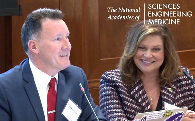 Before the committee, Connolly, shown with Heather Belmont, led two studies of post-secondary STEM education.